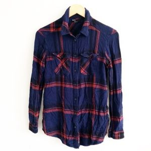 UO BDG Navy Plaid Flannel Shirt